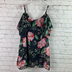 CAbi Fairy Tale Floral Cold Shoulder Top Small